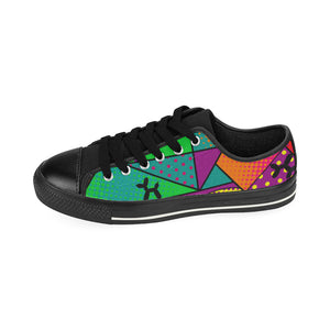 Colourful Black Dog - Kids Sully Canvas Shoes