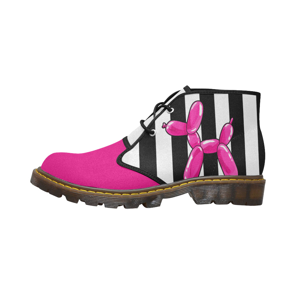 Pink Dog on Black & White - Women's Wazza Canvas Boots (SIZE 11-12)