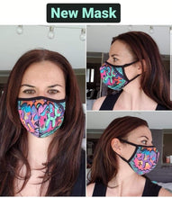 Load image into Gallery viewer, Leaky Squeaky BOOM! - Fitted 2 layer face mask with pocket for filter - Filter Not Included