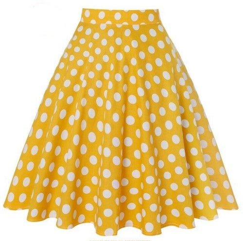 Yellow with White Polka Dot - Juliette Swing Skirt