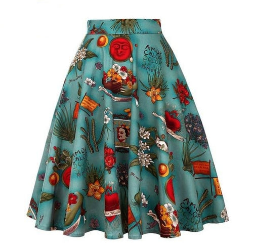 Retro Frida Kahlo - Juliette Swing Skirt
