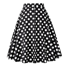 Load image into Gallery viewer, Black with White Polka Dot - Juliette Swing Skirt