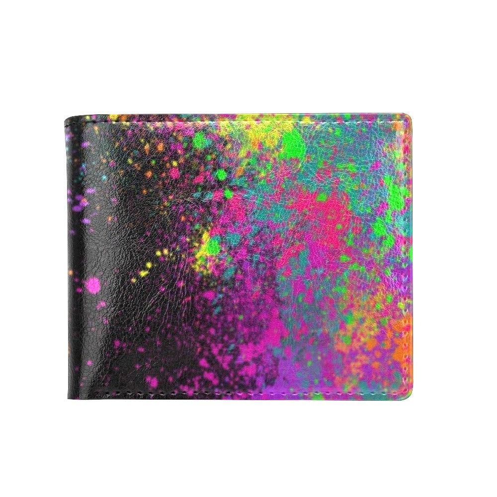 Paint Splatter on Black - Bifold Wallet with Coin Pocket