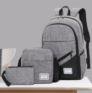 Three-piece backpack casual business computer backpack travel bag men and women high school students student bag
