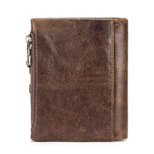 Hot Genuine Leather Men Wallets Credit Business Card Holders Double Zipper Cowhide Leather Wallet Purse Carteira 021