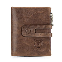 Load image into Gallery viewer, Hot Genuine Leather Men Wallets Credit Business Card Holders Double Zipper Cowhide Leather Wallet Purse Carteira 021