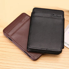 Load image into Gallery viewer, Men Magic Slim Short Flip Faux Leather Card ID Window Holder Wallet Clip Gift