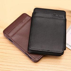 Men Magic Slim Short Flip Faux Leather Card ID Window Holder Wallet Clip Gift