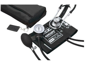 ADC Pro's Combo II SR Adult Pocket Aneroid/Scope Kit with Prosphyg 768 Blood Pressure Sphygmomanometer and Adscope Sprague 641 Stethoscope with Nylon Carrying Case, Black