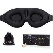 Load image into Gallery viewer, MZOO Sleep Eye Mask for Men Women, 3D Contoured Cup Sleeping Mask & Blindfold, Concave Molded Night Sleep Mask, Block Out Light, Soft Comfort Eye Shade Cover for Travel Yoga Nap, Black