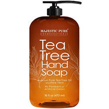 Load image into Gallery viewer, Majestic Pure Tea Tree Hand Soap - Liquid Hand Wash with Pure Aloe Vera, Rosemary & Spearmint - Hand Wash with Pump - Sulfate Free Formula -16 fl oz