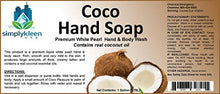 Load image into Gallery viewer, Simply Kleen USA Premium Smiply Coco White Pearl Liquid Hand, Body Soap, Contains Real Coconut Oil, 1 gallon