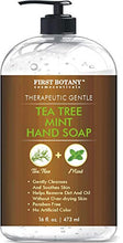 Load image into Gallery viewer, Tea Tree Mint Hand Soap - Liquid Hand Soap with Peppermint, Jojoba and Coconut Oil - Multipurpose Liquid Soap in Pump Dispenser - Natural Bathroom Soap & Liquid hand wash - 16 fl oz