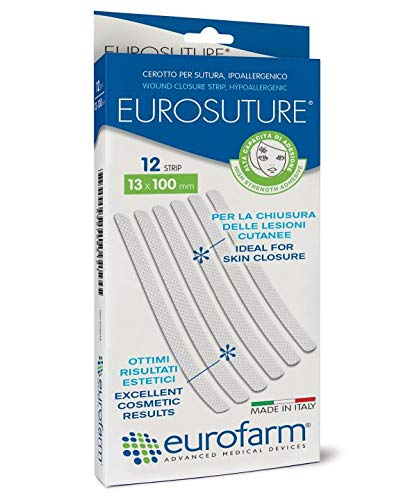 Eurosuture Skin Closure 1/8 x 3 inches Sterile Suture Strips, Dynamic Adherence and Superior Security for Wounds – 2 envelopes of 5 Strips Each (10 Strips)