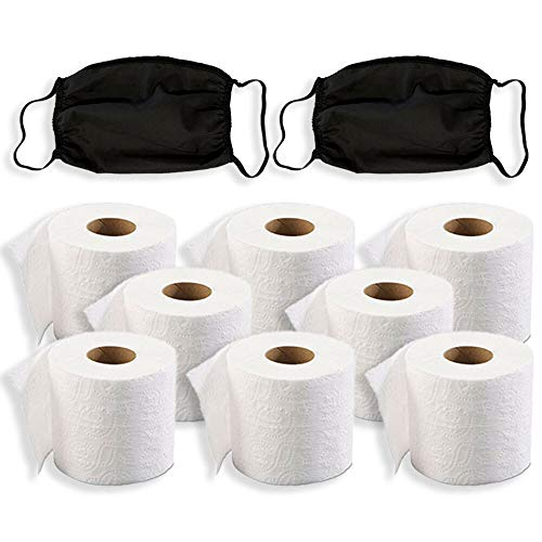Toilet Paper Set of 8 Rolls and Cotton Masks - This 2 Ply Bath Tissue and Facial Tissue 8 Pack is Great to Stock Up Your Bathroom and Household