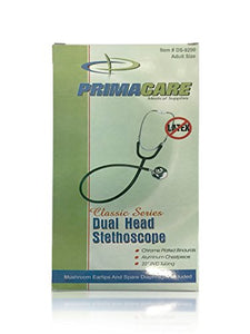 "Primacare DS-9290-BK Classic Series Adult Dual-Head Stethoscope, 22"" PVC Tubing Length, Black"