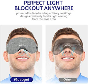 Mavogel Cotton Sleep Eye Mask - Updated Design Light Blocking Sleep Mask, Soft and Comfortable Night Eye Mask for Men Women, Eye Blinder for Travel/Sleeping/Shift Work, Includes Travel Pouch, Grey