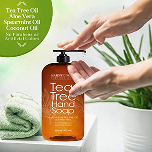 Majestic Pure Tea Tree Hand Soap - Liquid Hand Wash with Pure Aloe Vera, Rosemary & Spearmint - Hand Wash with Pump - Sulfate Free Formula -16 fl oz