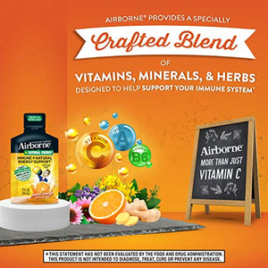 Vitamin C + Natural Energy Ready to Drink Zesty Orange Shots, Airborne (10 Count of 1 fl oz Shots), Caffeine & Sugar Free, Herbs, Vitamin B6, Minerals, Helps Support Your Immune System*, Echinacea