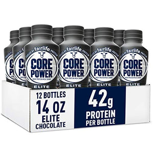 Core Power Elite High Protein Shakes (42g), chocolate, Ready to Drink for Workout Recovery, 14 fl oz Bottles (12 Pack)