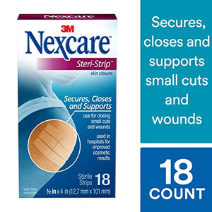 Nexcare Steri-Strip Skin Closure, Breathable, Hypoallergenic, 1/2 Inch x 4 Inch, 18 Count