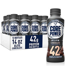 Load image into Gallery viewer, Core Power Elite High Protein Shakes (42g), chocolate, Ready to Drink for Workout Recovery, 14 fl oz Bottles (12 Pack)