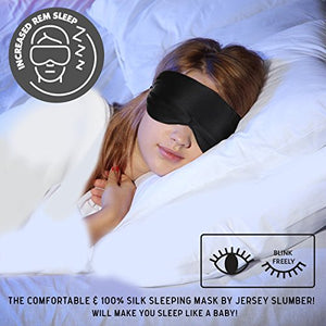 Jersey Slumber 100% Silk Sleep Mask For A Full Night's Sleep | Comfortable & Super Soft Eye Mask With Adjustable Strap | Works With Every Nap Position | Ultimate Sleeping Aid / Blindfold, Blocks Light