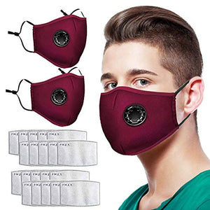 Reusable Face Bandanas, with Breathing valve for Adults, Haze Dust Face Health (2pcs+20pcs Pad, Red)