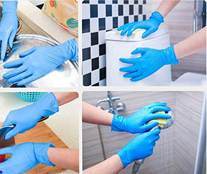 Rareccy 100PCS Disposable Nitrile Gloves Exam Gloves Latex-Free, Powder-Free Glove for Cleaning, Mechanics, Automotive, Industrial, Food Handling or Medical applications, Blue (Medium)