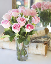 Load image into Gallery viewer, Arabella Farm Direct Bouquet of 12 Fresh Cut Pink Roses with a Free Glass Vase