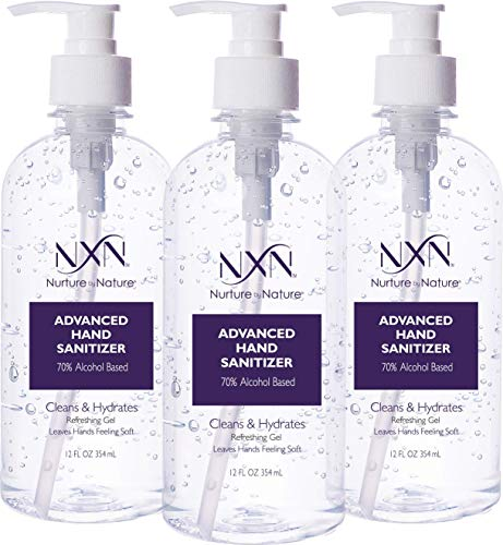 NxN Beauty Advanced Hand Sanitizer Refreshing Gel, with 70% Alcohol, 36 Total FL OZ - 3 Pack of 12 OZ (354ml Each)