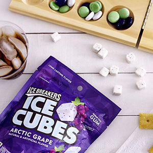 Ice Breakers Ice Cubes Gum, Arctic Grape, Sugar Free with Xylitol, 100 pieces, 8.11 Ounce (1 Bag)