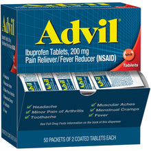 Load image into Gallery viewer, Advil Coated Tablets Pain Reliever and Fever Reducer, Ibuprofen 200mg, 100 Count (50 Packets of 2 Capsules), On the Go Pain Relief