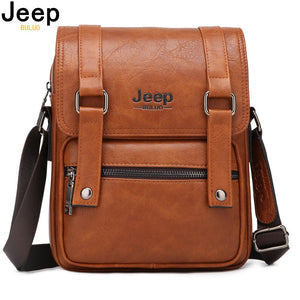 JEEP BULUO Men Messenger Bags New Man's Crossbody Shoulder Bag Large Capacity Leather Travel Tote For 9.7' IPAD Multi-function
