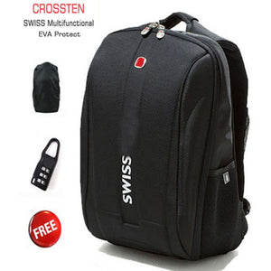 "Crossten Swiss Multifunctional 15.6"" Laptop Backpack ipad Case EVA Shell Protective Waterproof School Bag Mochila"