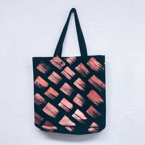 Imperfect Hand-painted Tote Bag Metallic Red