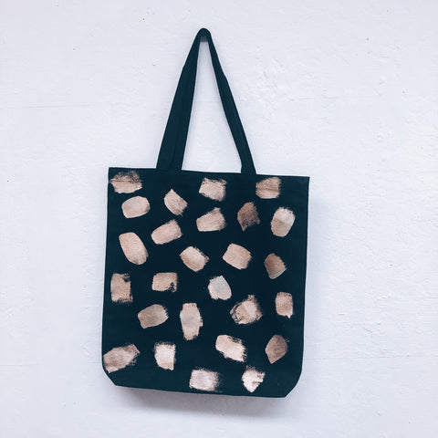 Imperfect Hand-painted Tote Bag Gold Drops