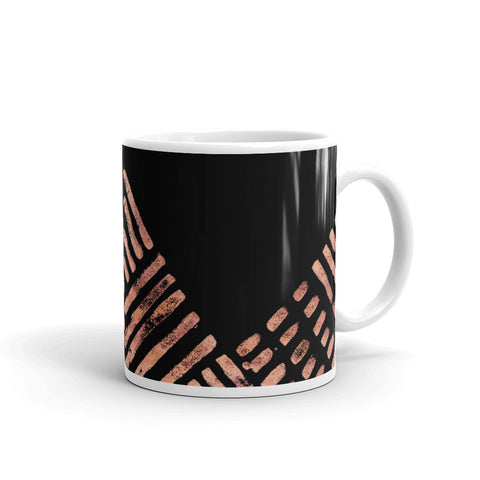 Black Mug with small copper strokes - hand painted brush style