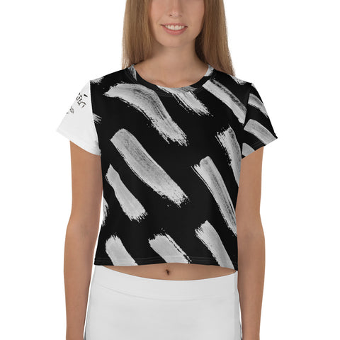 Imperfect Clizia Black Brush All-Over Print Crop Tee