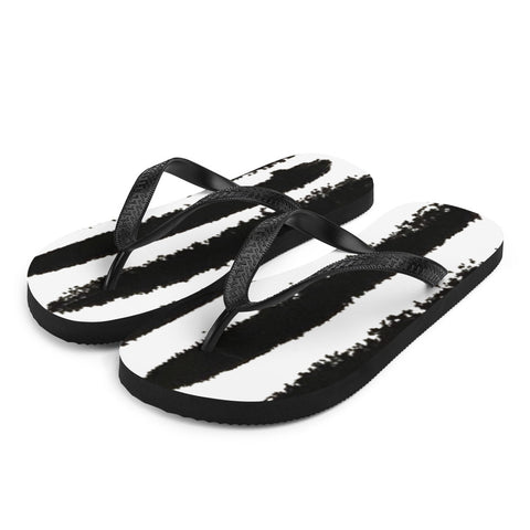 Zebra Stripes Hand -painted Style Black and White Flip-Flops