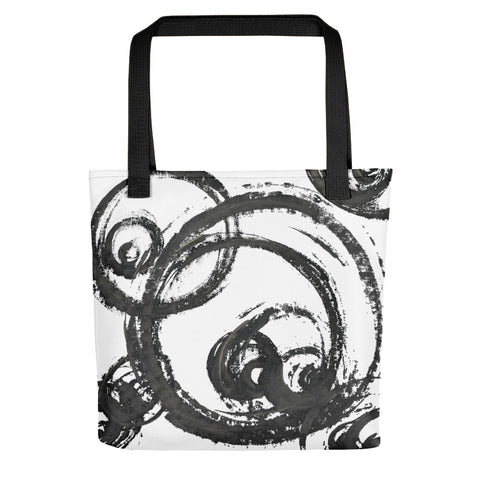 hand painted black circles on white tote bag