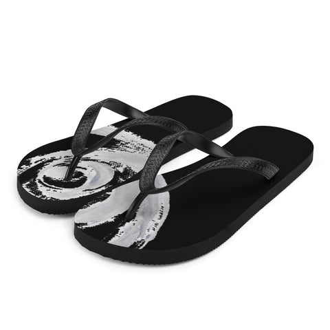 White Hand-painted Stroke on black FlipFlops | Flip-flops