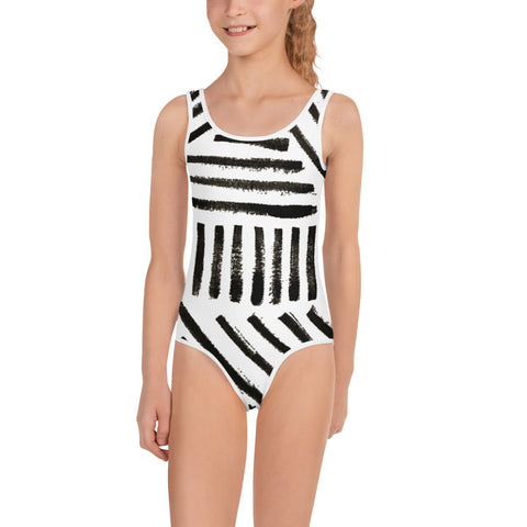 white swimsuit with black strokes - hand painted style