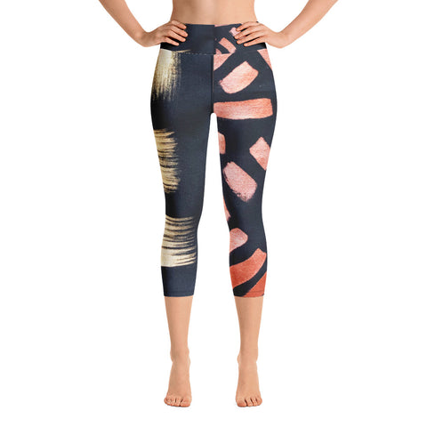Imperfect Gold&Red Yoga Capri Leggings