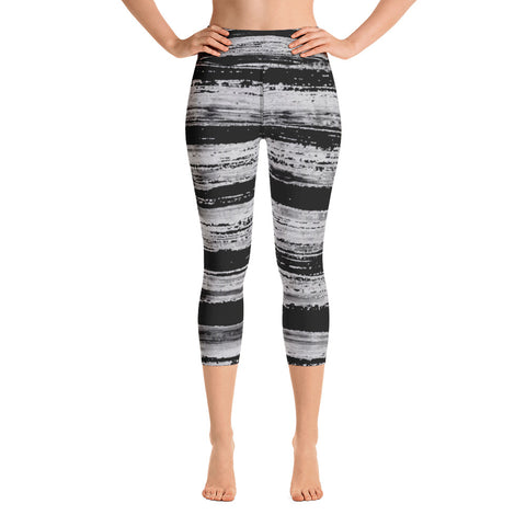 Imperfect Black Stripes Yoga Capri Leggings