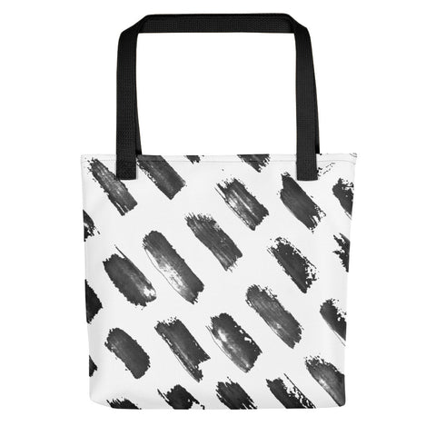 Black diagonal strokes on white tote bag , hand painted style with large strokes