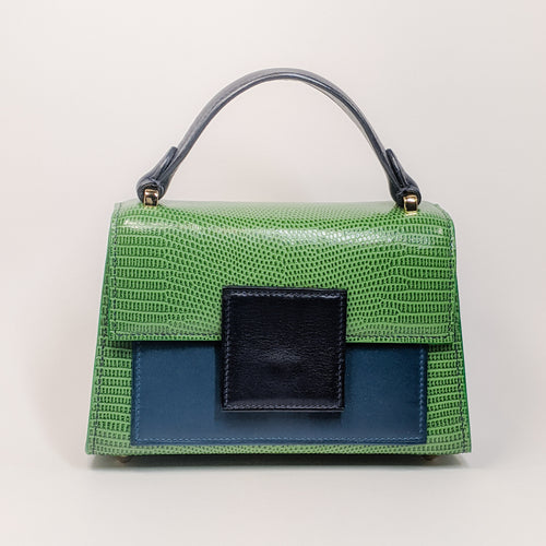 Berry Mini Handbag Green Lizard Embossed by Kubeeka