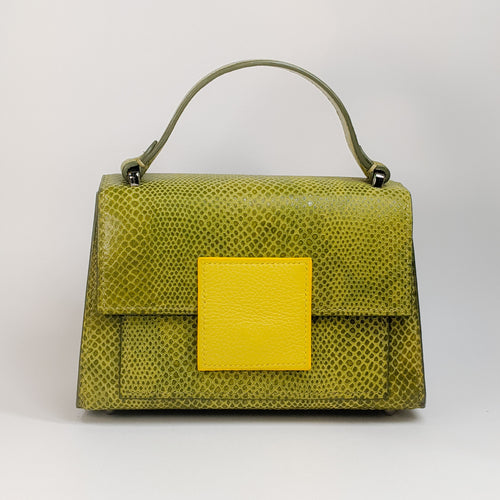 Berry Mini Handbag Green Python Embossed by Kubeeka