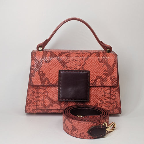 Berry Mini Handbag with Shoulder Strap Red Embossed Python by Kubeeka