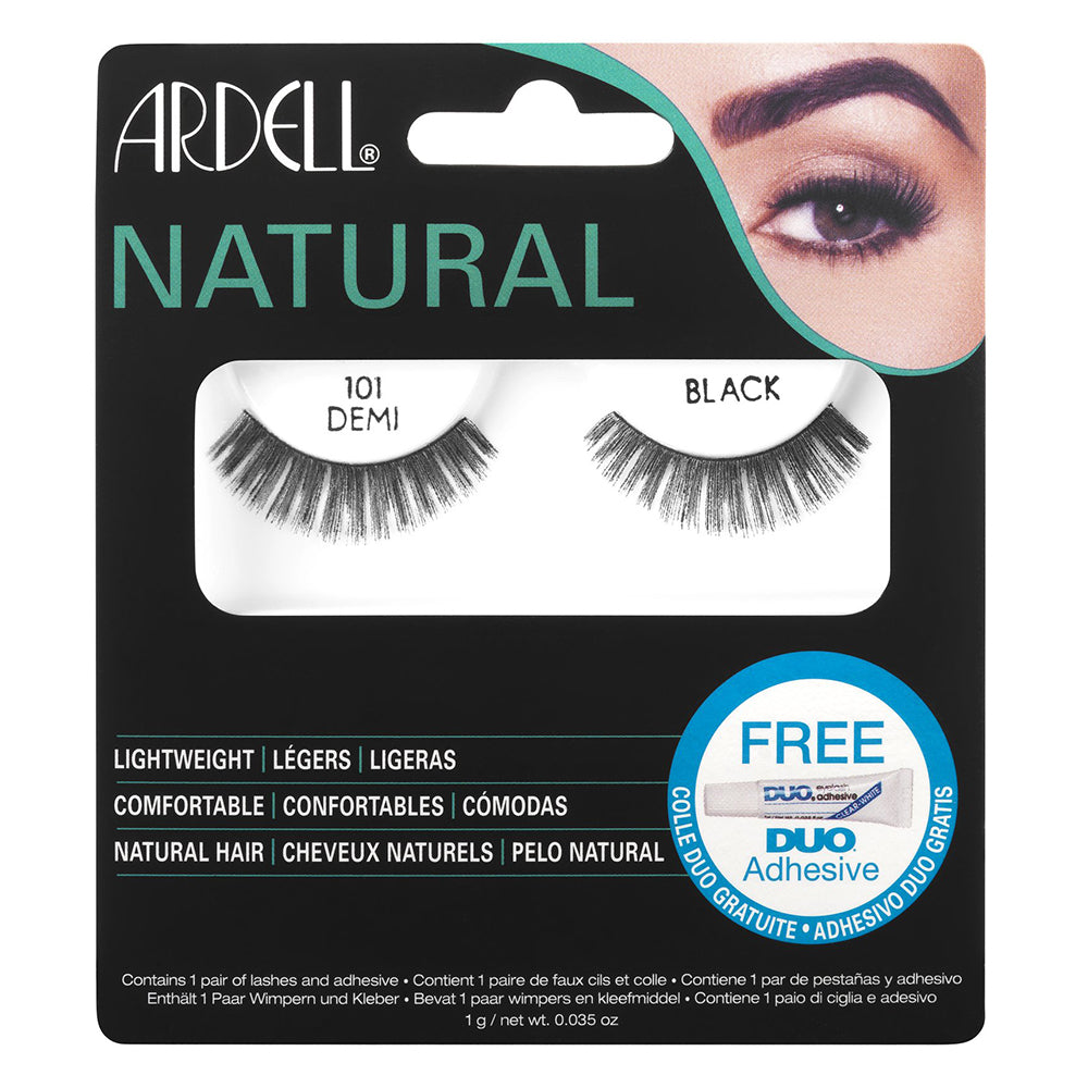 Ardell Natural Lashes 101 Demi Black with Free DUO Lash Adhesive Clear 1g